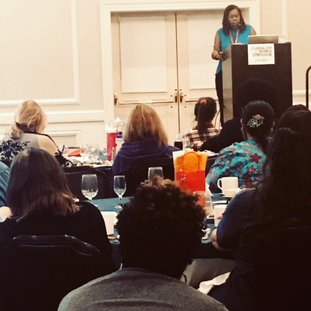 Susan Smith Richardson, CEO of the Center for Public Integrity, speaking at the recent Journalism & Women Symposium. (Photo By JAWS)