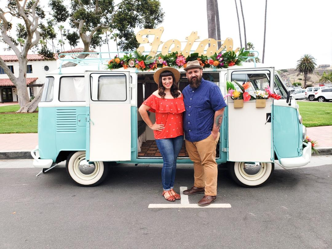 Lily & Oscar - Hello! we are so excited that you found us and because we believe that getting to know our clients is the #1 way to ensure an awesome experience, we'd love to tell you a little about ourselves.We are a husband and wife team from Downey,Ca that has been happily married for 10 years. During this time, we've had four children…yup you read that right. FOUR! and life has been nothing short of interesting!  We are what you call Retrophiles, in other words, people who LOVE all things vintage! We are firm believers that everything has a story, and that makes everything much more genuine and fun! We both love Volkswagens and wanted to share our enthusiasm and passion for them! so with Oscar as the Handyman and I as the creative mind, Porty and Poppy were born! Starting this business has been one of the best decisions we've ever made. We've had the wonderful opportunity to be a part of many events, creating memories that last a lifetime! We love seeing the smiles and joy that Porty and Poppy bring, which is why we are so excited to capture those moments with you!