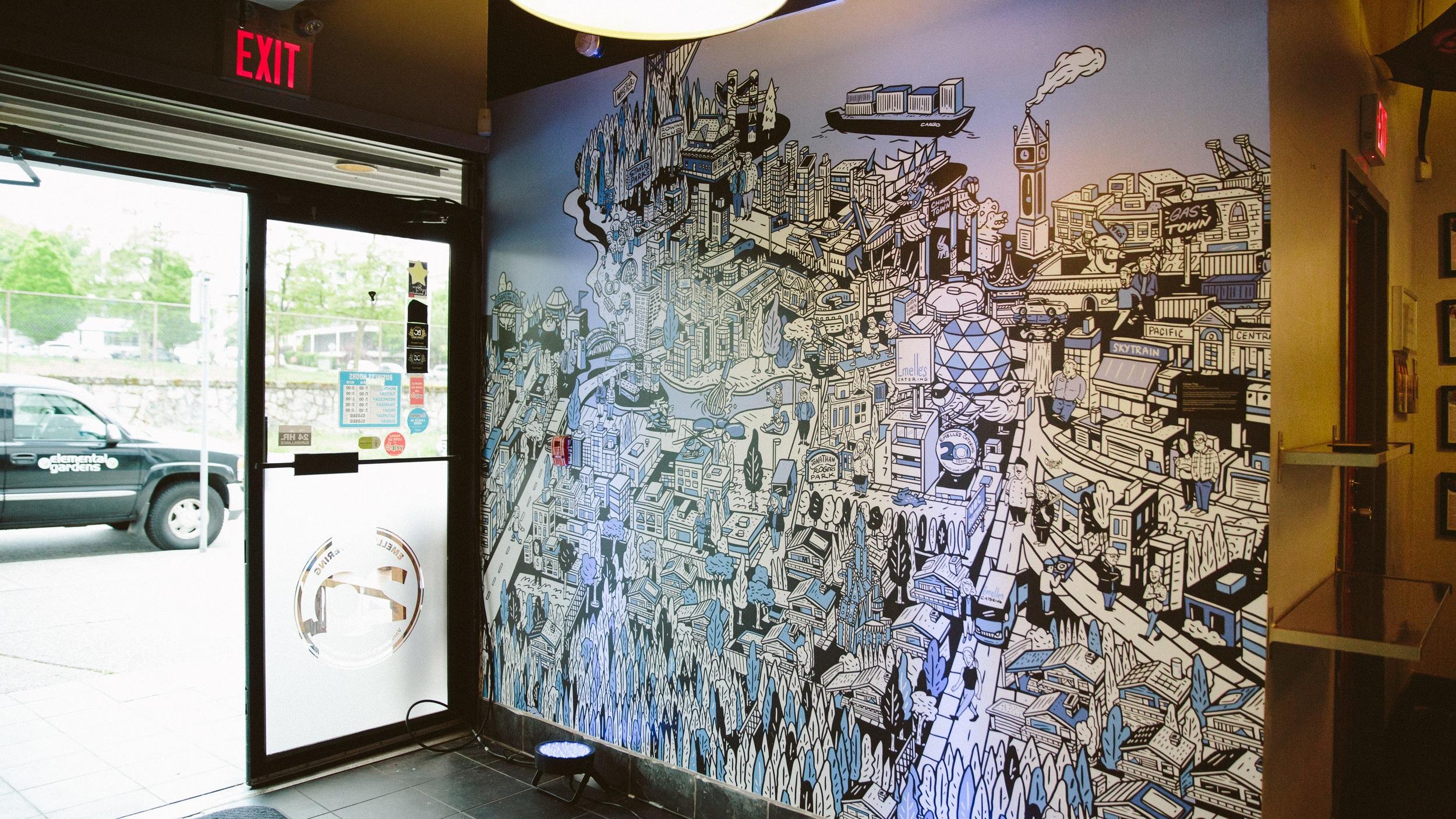 Emelle's Westside Kitchen - Mural installation for Emelle's Westside Kitchen, a local cafe and catering company.