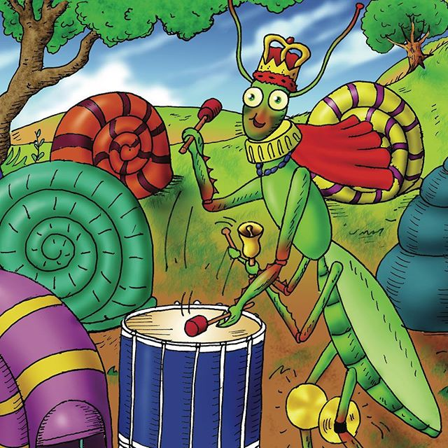 King Mantis loves playing the bugle. He also loves playing the squeezebox and the drums. Each day the King makes very important decisions, but there was one time he did not know what to do. Asking the other bugs did not help at all, but the King found the answer from one bug he hadn't thought to ask... can you guess who?