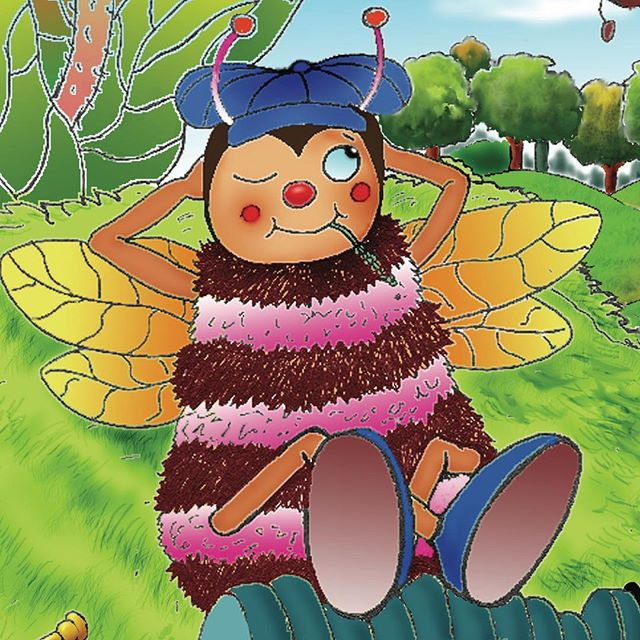 Fizzy loves to play the trumpet so much he has no time to help the other bees make honey. The other bees didn't think playing the trumpet was very helpful and went to the Queen Bee for help. What did the Queen Bee say?  What could Fizzy do to work hard and and help the other bees at the same time?