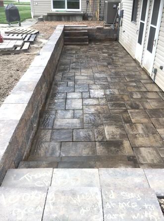 Retaining wall and Patio with drainage - Carterville, IL