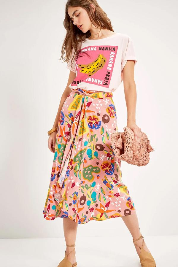 Feira Print Skirt   A midi skirt with fruity succulent prints for added flare. This skirt is perfect for the upcoming spring and summertime!