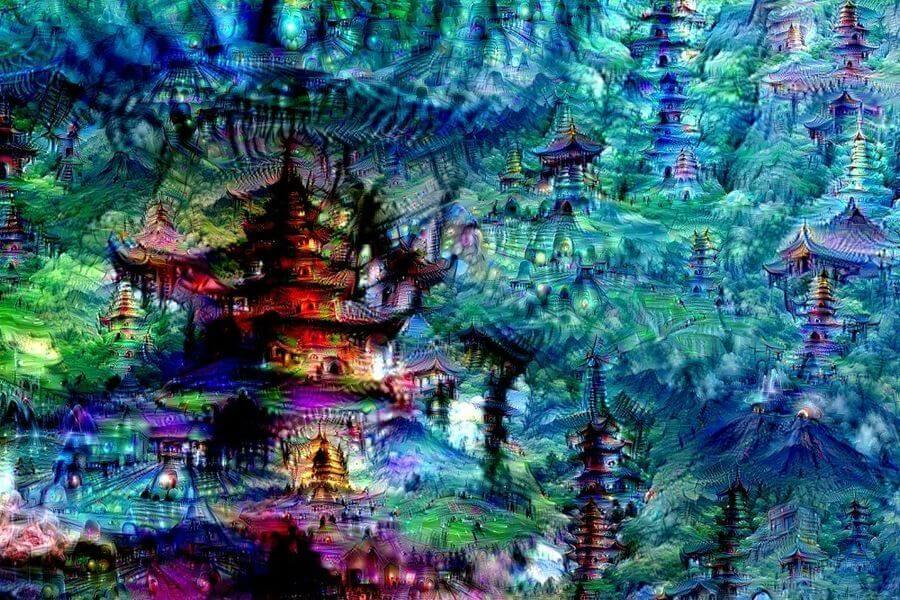 Inceptionism: Cities - Neural net, digital. 2015.By Mike Tyka.