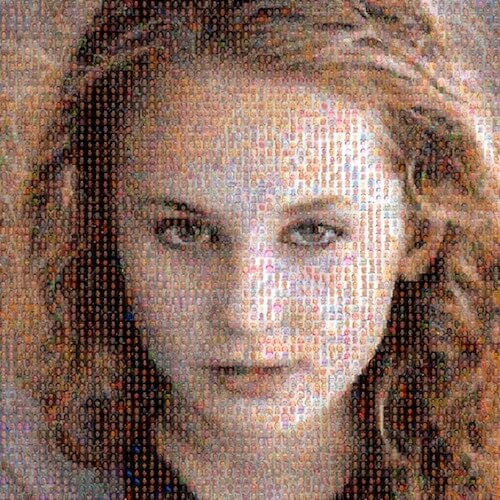 Unreal AI faces made from tiny AI generated faces -