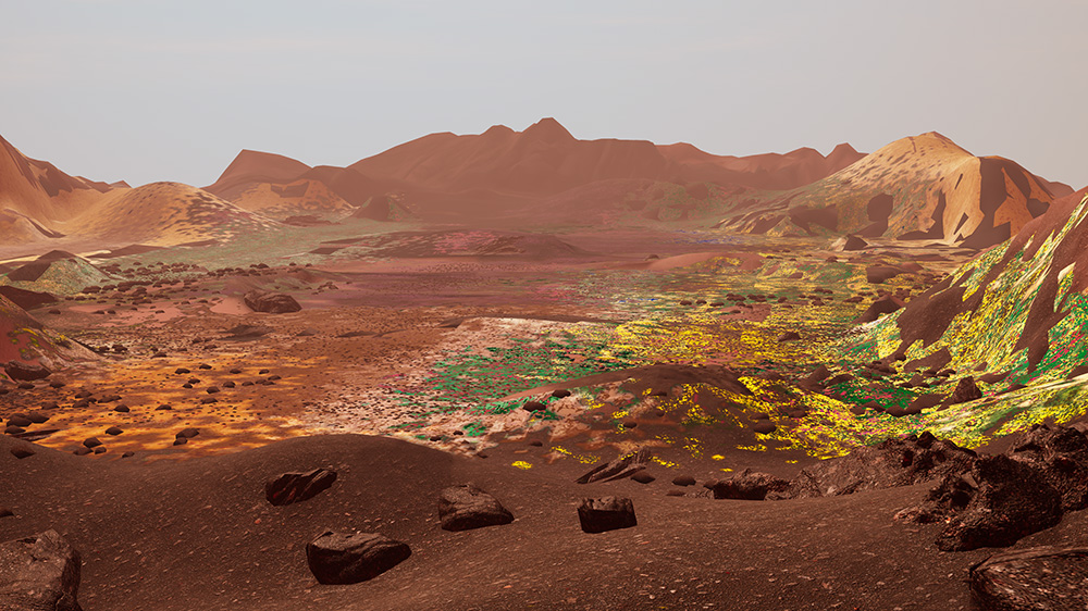 The Wilding of Mars - The Wilding of Mars simulates the growth of a planetary wilderness, seeded with Earth life forms. In exhibition, a wild garden on Mars thrives over millennia, its growth visible over human hours.