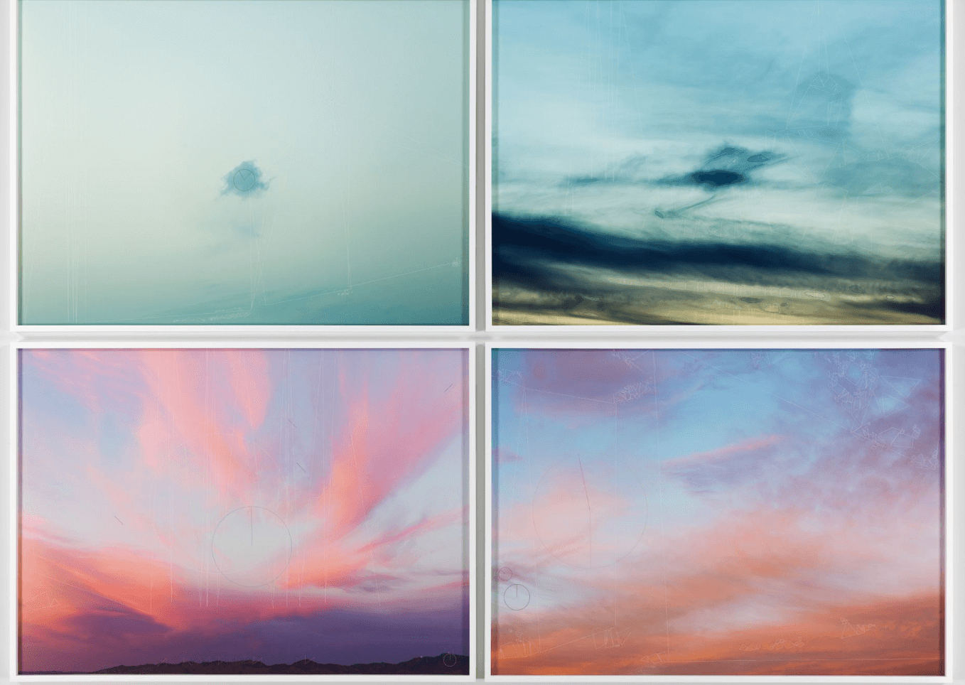 Four Clouds - The four skyscapes are overlaid with strokes and lines that show what four different computer vision algorithms are seeing in the images. The algorithms are looking for unique key-points—areas of interest—and are attempting to simplify the underlying photograph into a series of sections.