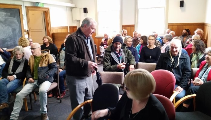 A community meeting in Raglan attended by one of our Directors, David Hammond. The community there is asking for more involvement in decisions.