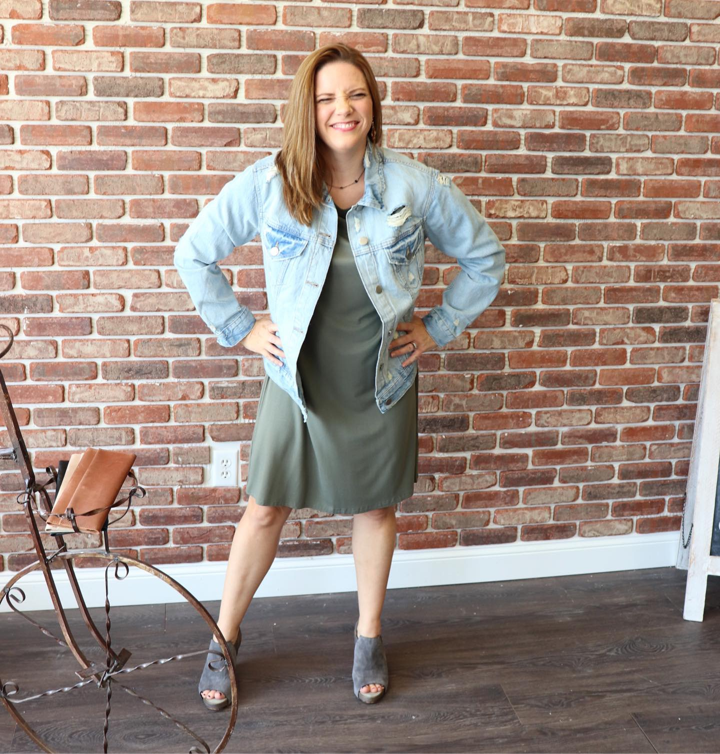 Our favorite denim jacket EVER is here. The color is classic and the distressing adds the perfect flair. Throw it on with your favorite dress for a classic fall look.  This look available in store, and will be online soon! You can also call or DM us on Instagram to place an order.