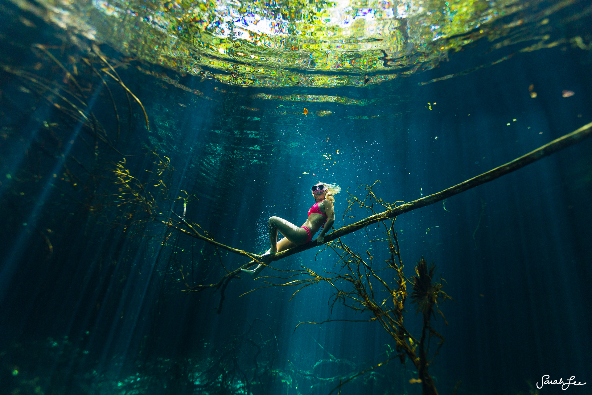 Exploring an untouched cenote with Alison Teal and cave explorer Sam Meacham. Photo taken with a Canon 5D MKIII + 8-15 fisheye lens in an Outex Water Housing and dome port.