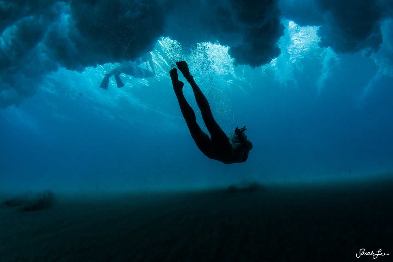 Female freediver Katie Pentz, underwater in Kona, Hawaii