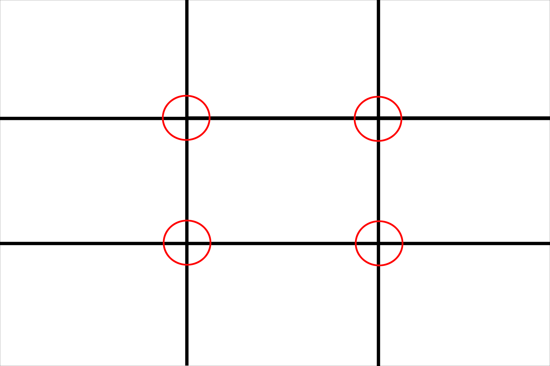 The Rule - Where these segments intersect or cross, indicate where the focal point of the image should be placed.
