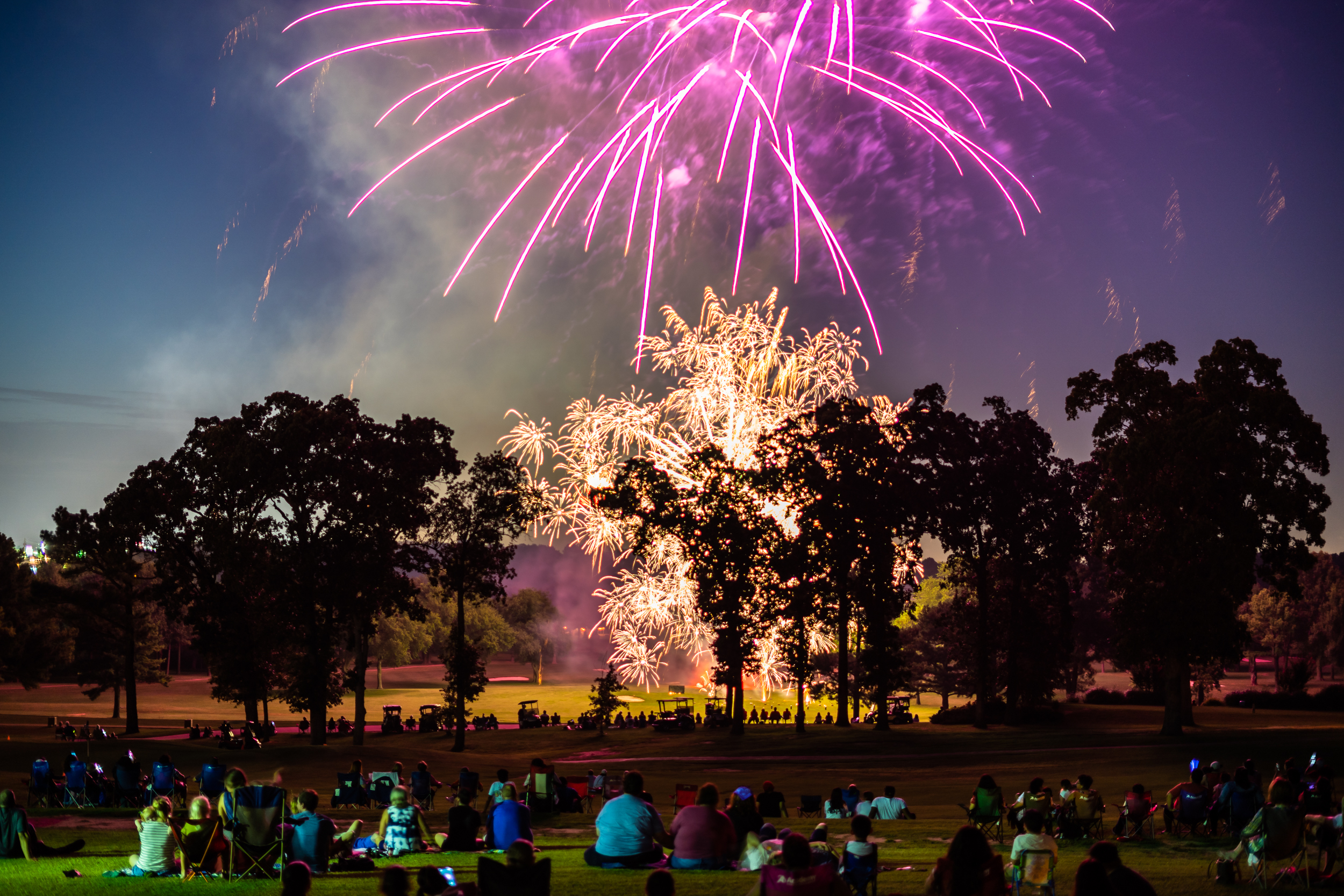 The start of the Fireworks show at the Springdale Country Club