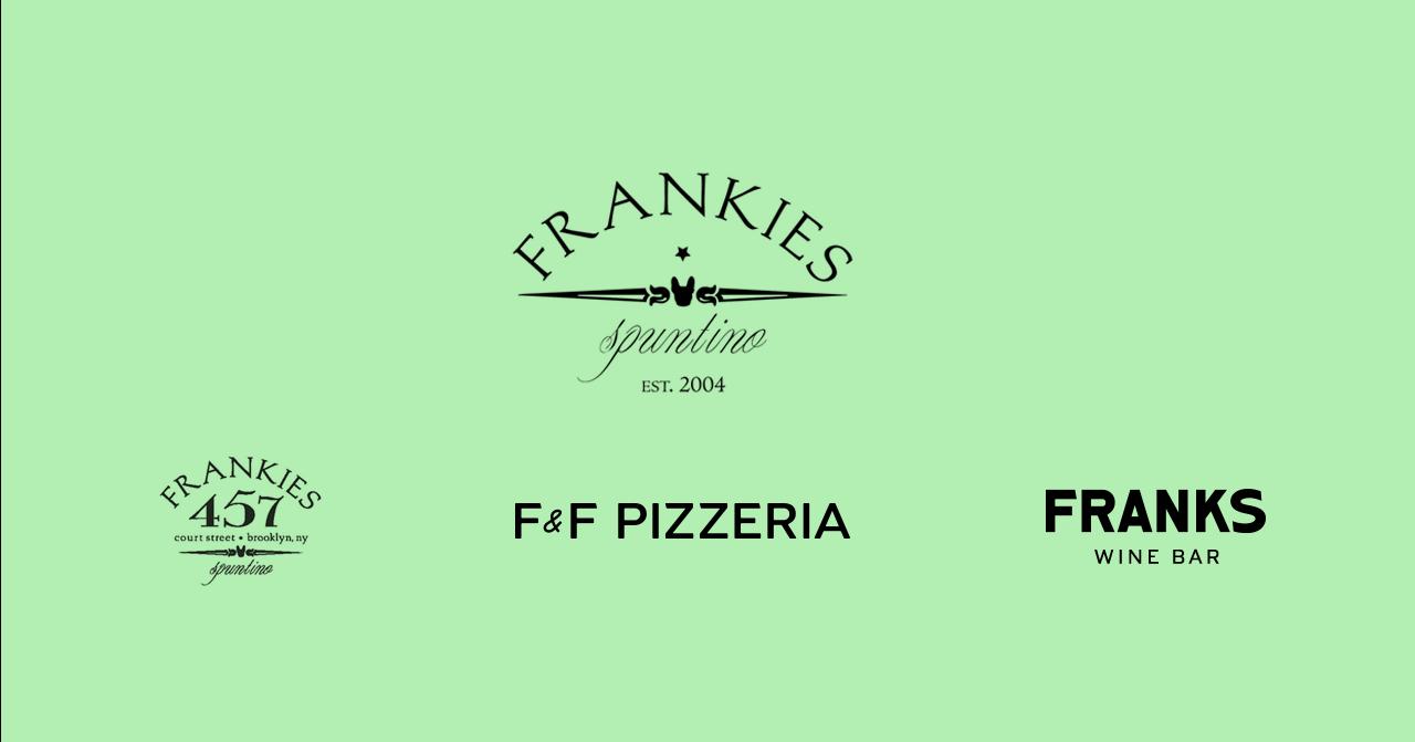 Frankies Spuntino Brand Logos - Frankies 457, F&F Pizzeria, Franks Wine Bar