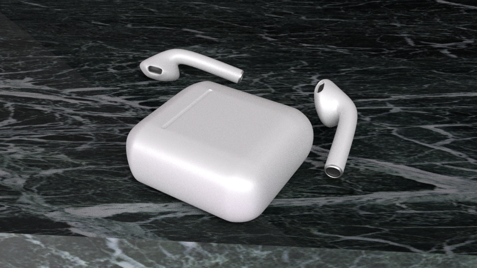 Airpods   A 3D model I created in Blender as a practice project.