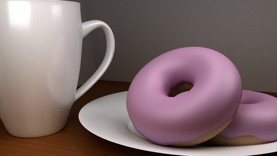 Donuts and Coffee Mug   A 3D scene I modeled and textured in Blender.