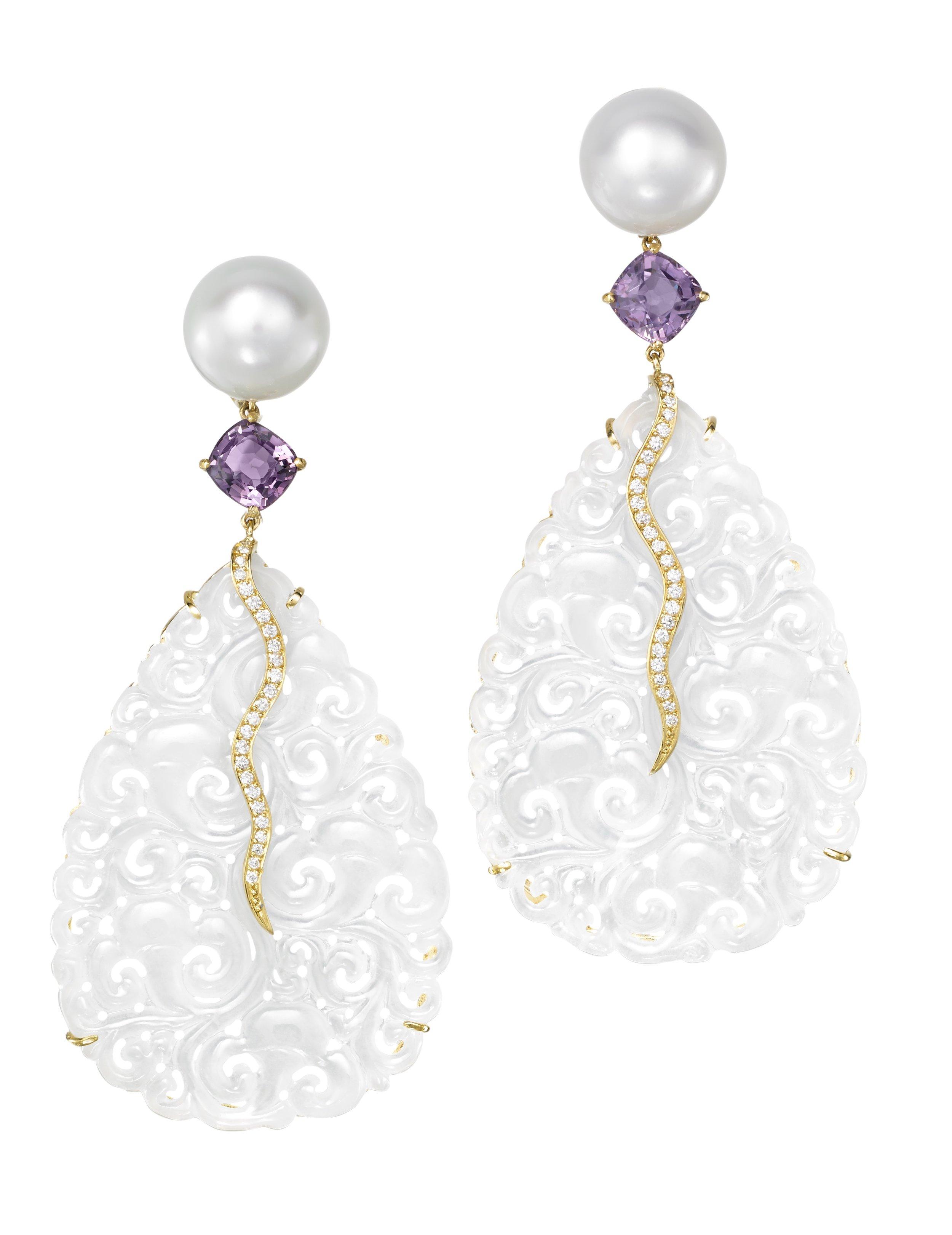 JOON HAN White Jade, spinel and pearl earrings.jpg