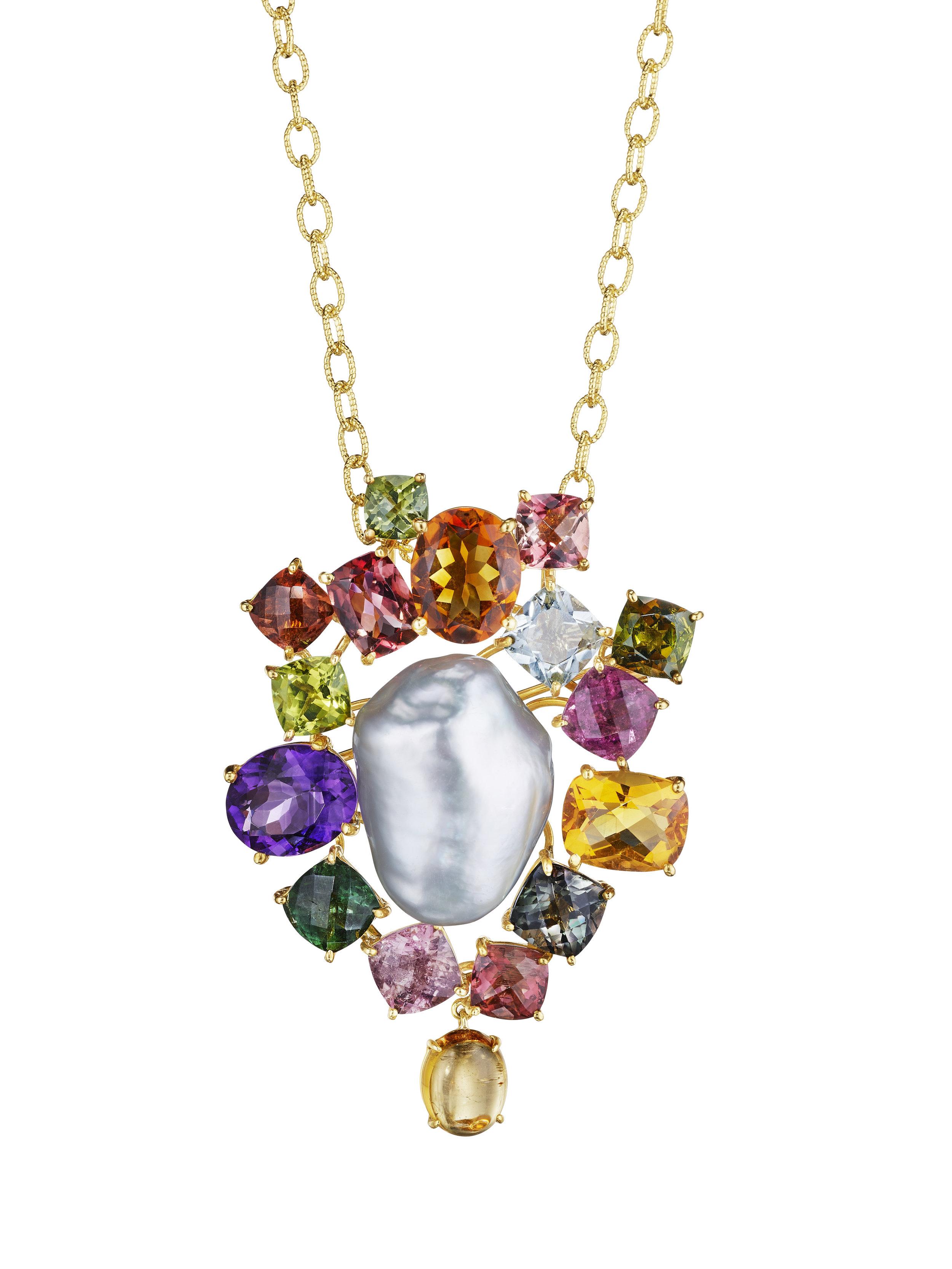 JOON HAN Pearl and multi-gemstone pendant.jpg