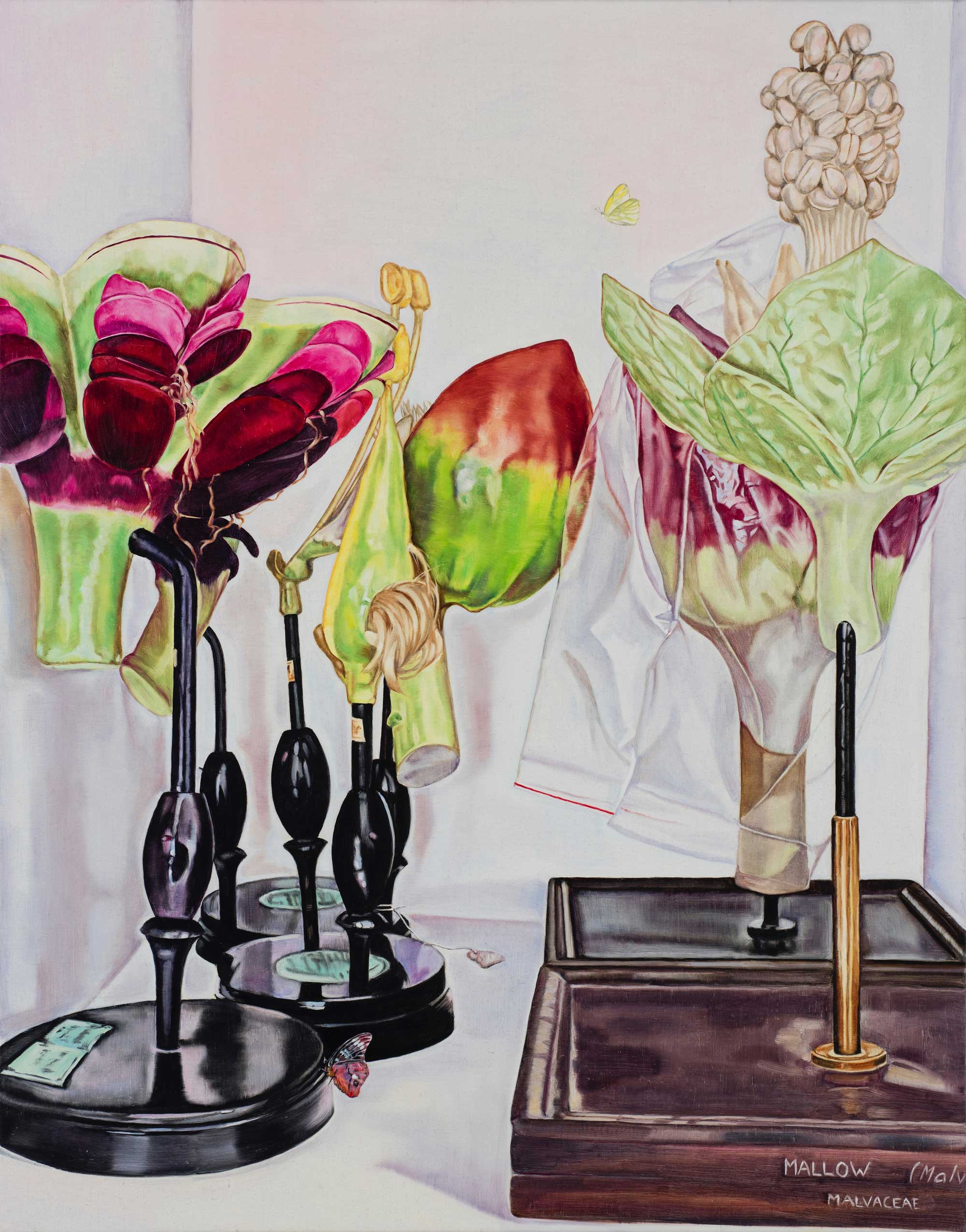 Still life with Mallow and butterfly , 2018 84 x 66cm oil on linen