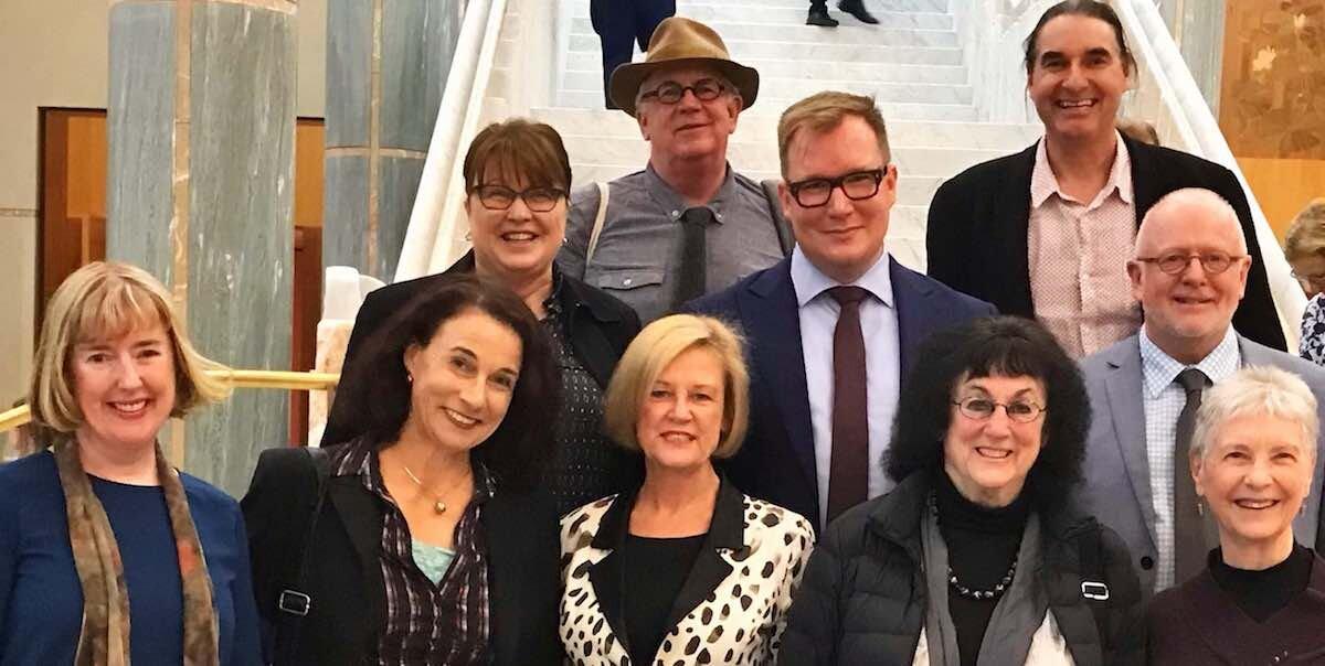 Back: Sue Fox (Ausdance), Roger Dunscombe (ATOM), John Nicholas Saunders (Drama Australia), Antony Hubmayer (ASME), Jeff Meiners (Ausdance). Front: Margaret Baguley (AEA), Linda Lorenza (Music Australia), Mary Mooney (Drama Australia), Tamara Winikoff (observer), Julie Dyson (NAAE Chair).