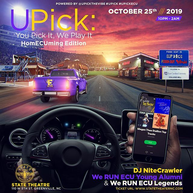 Taking @UPickTheVibe on the road during #HomECUming. Let's see if Pirate Nation has what it takes to be aux cord manager! October 25th from 10pm - 2am at State Theatre. ____ Live request the songs you want to hear throughout the night. Watch the requests roll in on our request wall! This is more than a party. This is a musical experience for all the aux cord managers out there. You pick it, we play it! ____ #UPick #UPickDC #HomECUming #GVegas #PirateNation