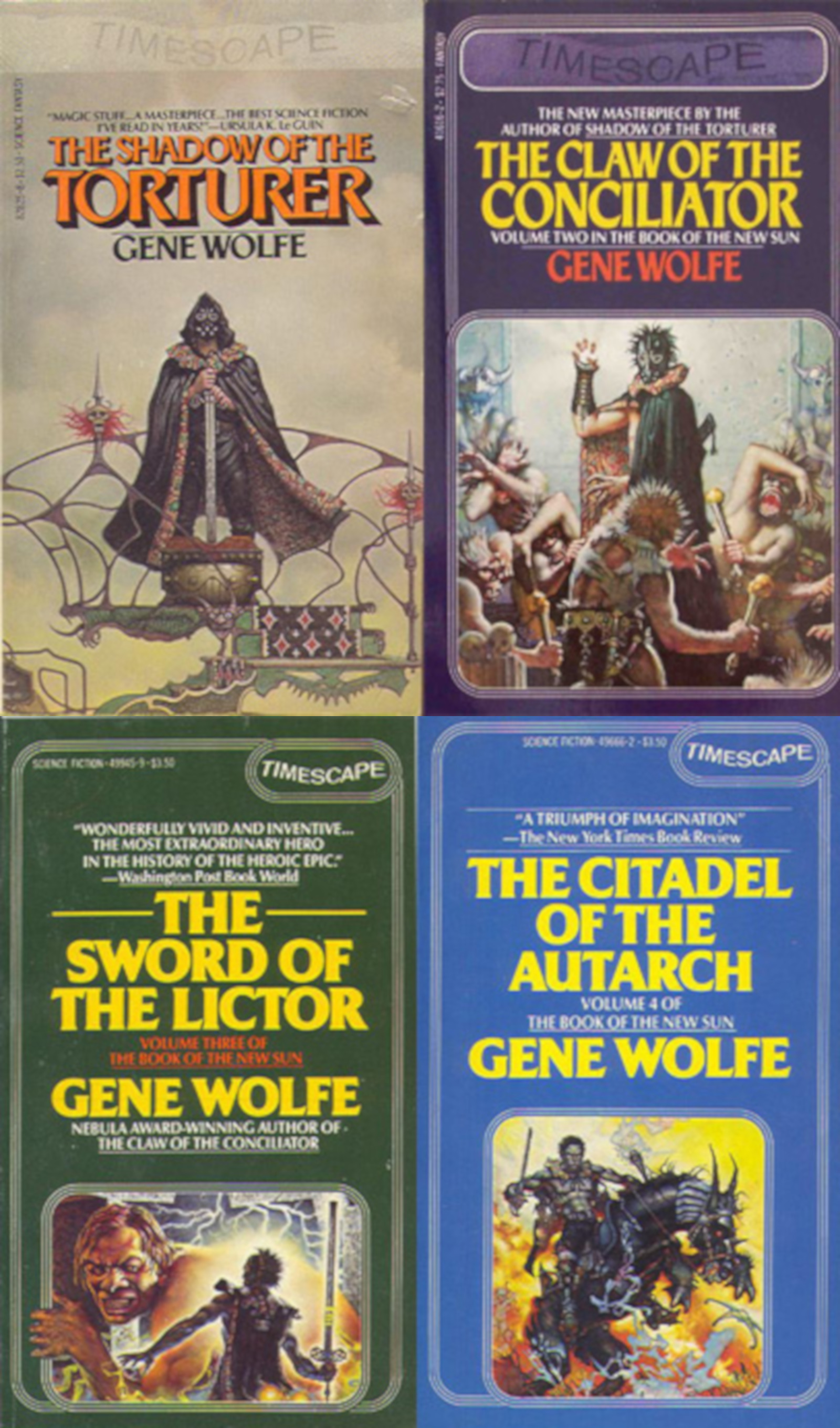 """The Book of the New Sun (1980-1983) - Wolfe's Magnum Opus, ranked by Locus Magazine as the 3rd best fantasy novel of all time behind only the works of J.R.R. Tolkien, follows the journey of the torturer's apprentice Severian who is expelled by his guild for the unforgivable crime of showing mercy to a """"client"""". Equipped with an executioner's sword and an ancient relic that raises the dead, Severian encounters time travelers, a mad scientist, revolutionaries, & nobility."""
