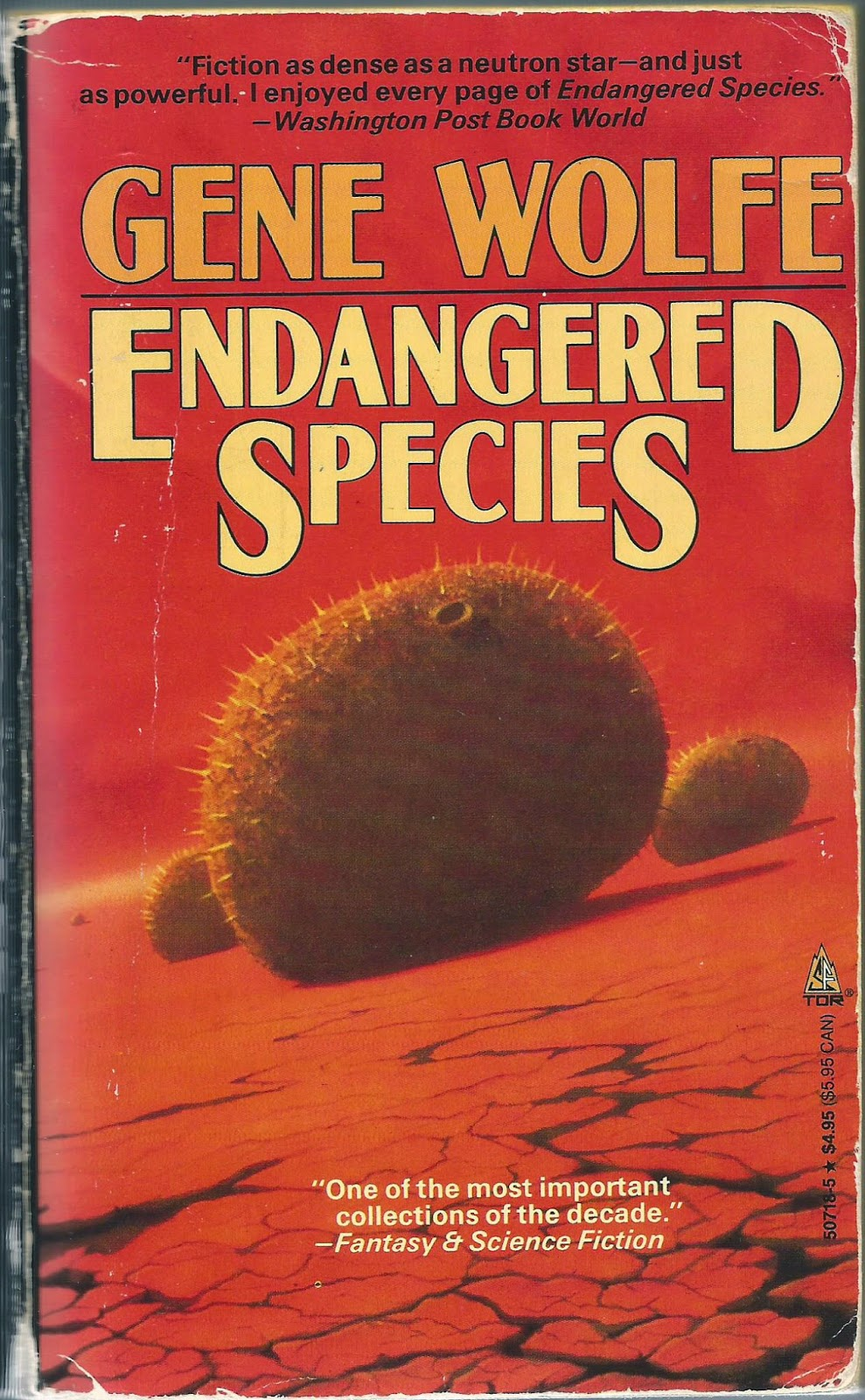 Endangered Species (1989) - Described by R.A. Lafferty as the best single author collection of the '80s, Endangered Species displays Wolfe and his Borgesian best. Featuring a generous selection of over 30 stories published throughout Wolfe's career before the '90s, the reader will find the author has mastered an alarming breadth of genres & subjects. Space opera & pulp thriller, fantasy & myth, war & comedy— these only scratch the surface of what Wolfe has to offer.