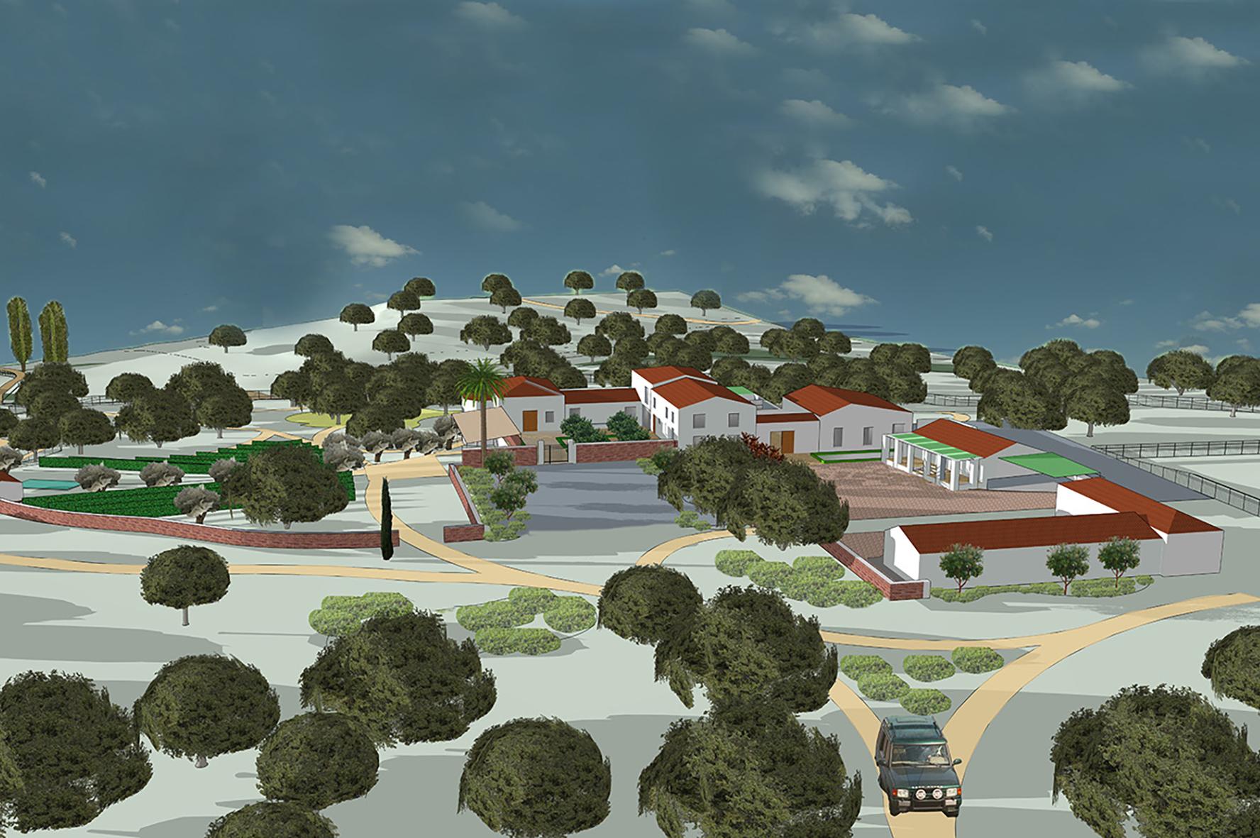 Badajoz 2018 - El espacio objeto de este proyecto tiene una identidad profundamente marcada por su localización en la dehesa y por el carácter de la edificación, anterior y actual, que permite la posibilidad de crear un espacio multifuncional integrado en el medio.