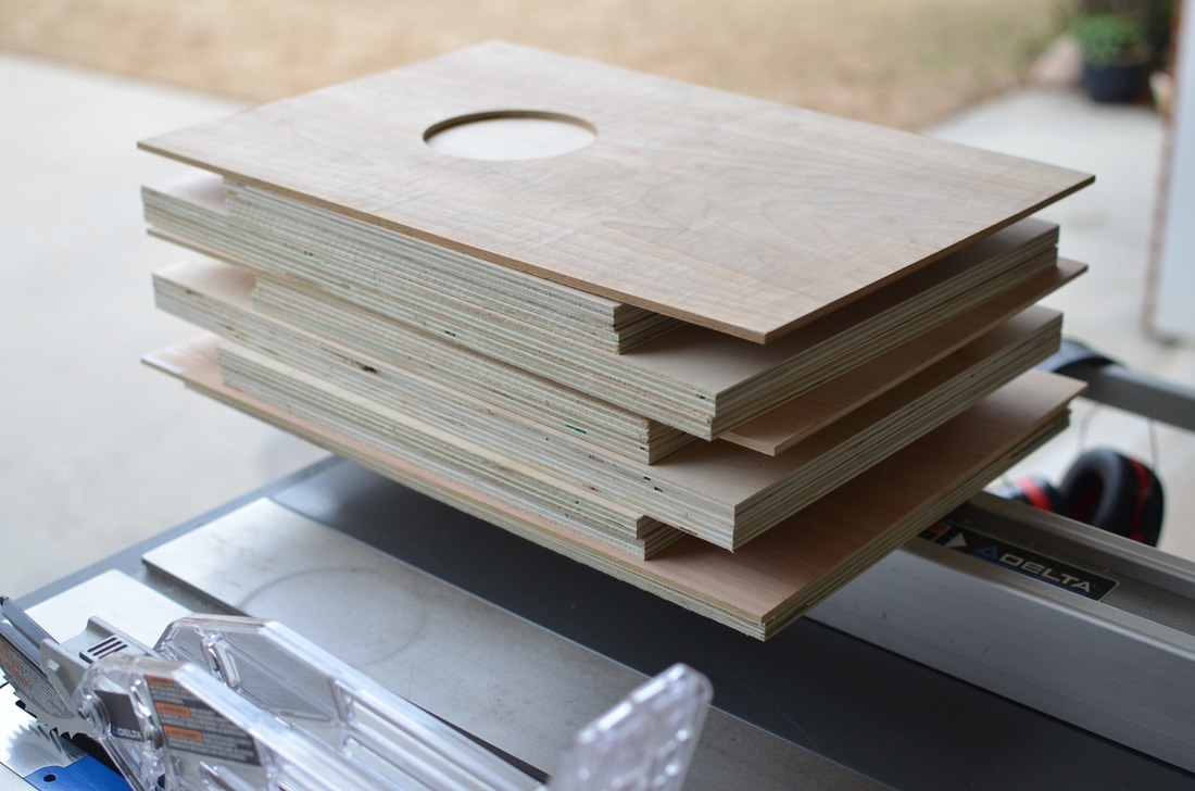 """Great news is that with just two 8ft sections I have enough to build 3 cajons. Now on to the glue up! (4"""" circle cut with a circle cutter bit)"""