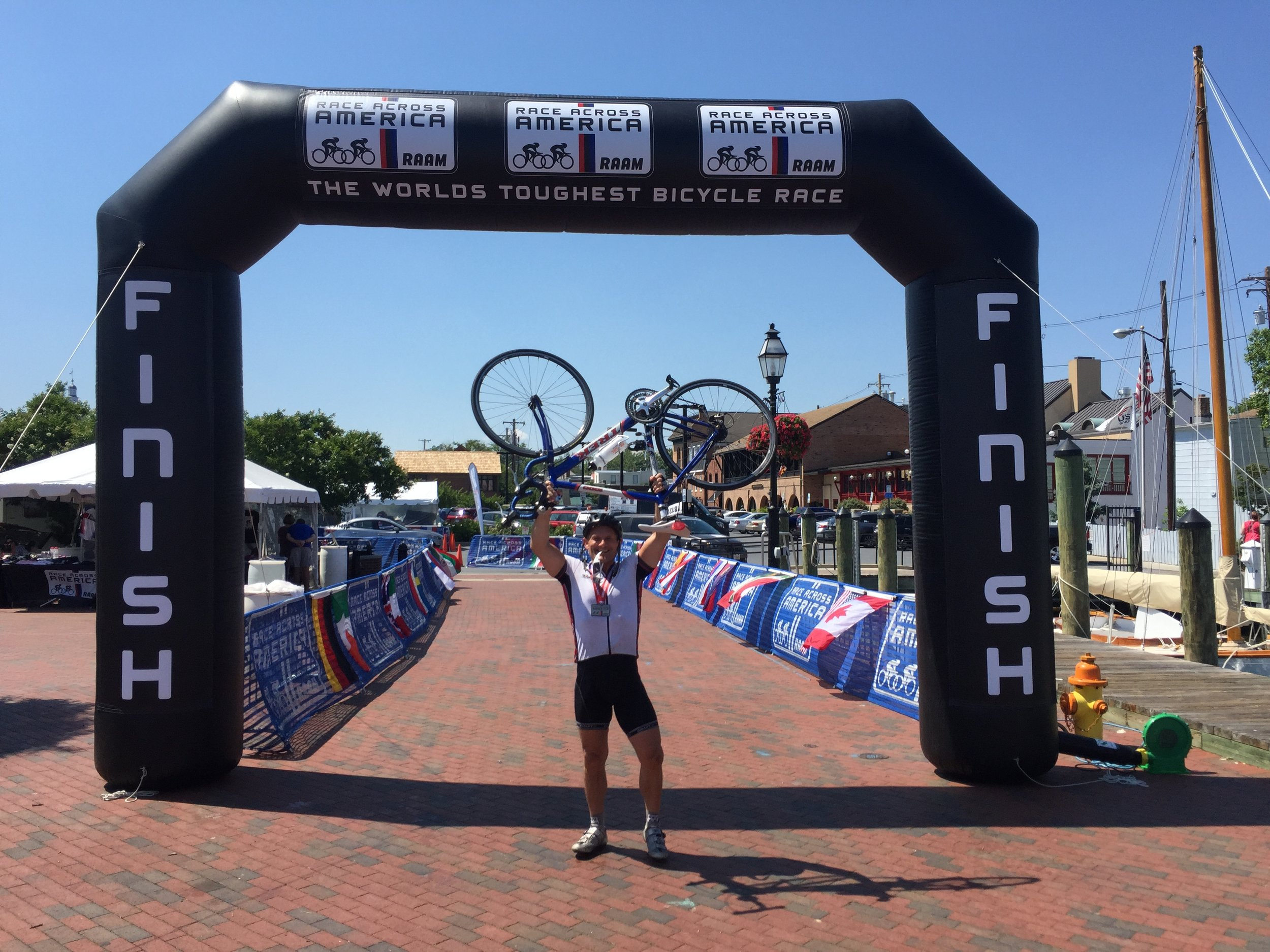 8-man team rider Peter at the finish line in Annapolis, MA