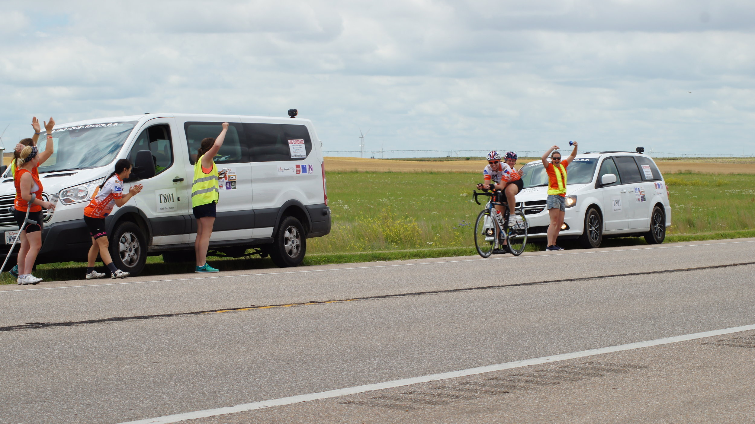 The 'Blue Pod' team celebrating the half way point of the Race Across America