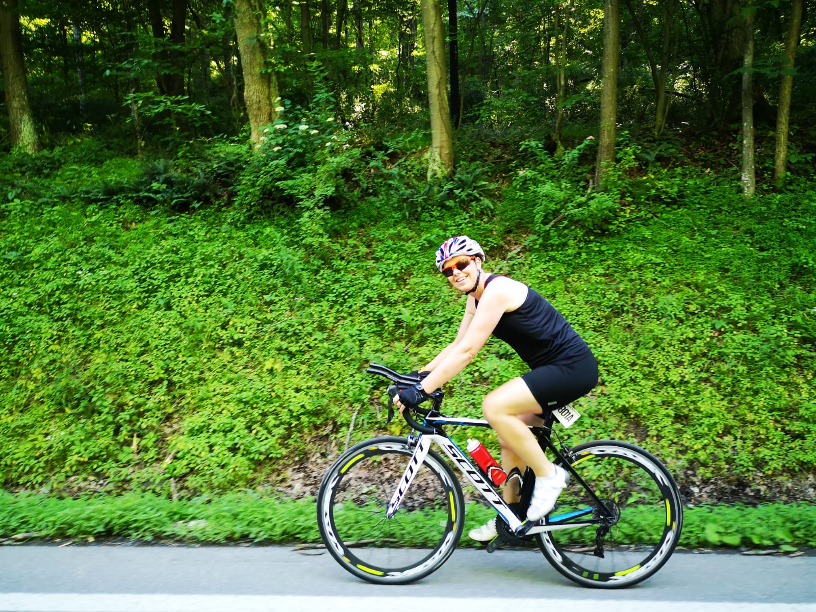 Sally amongst the trees on one of the Appalachian climbs