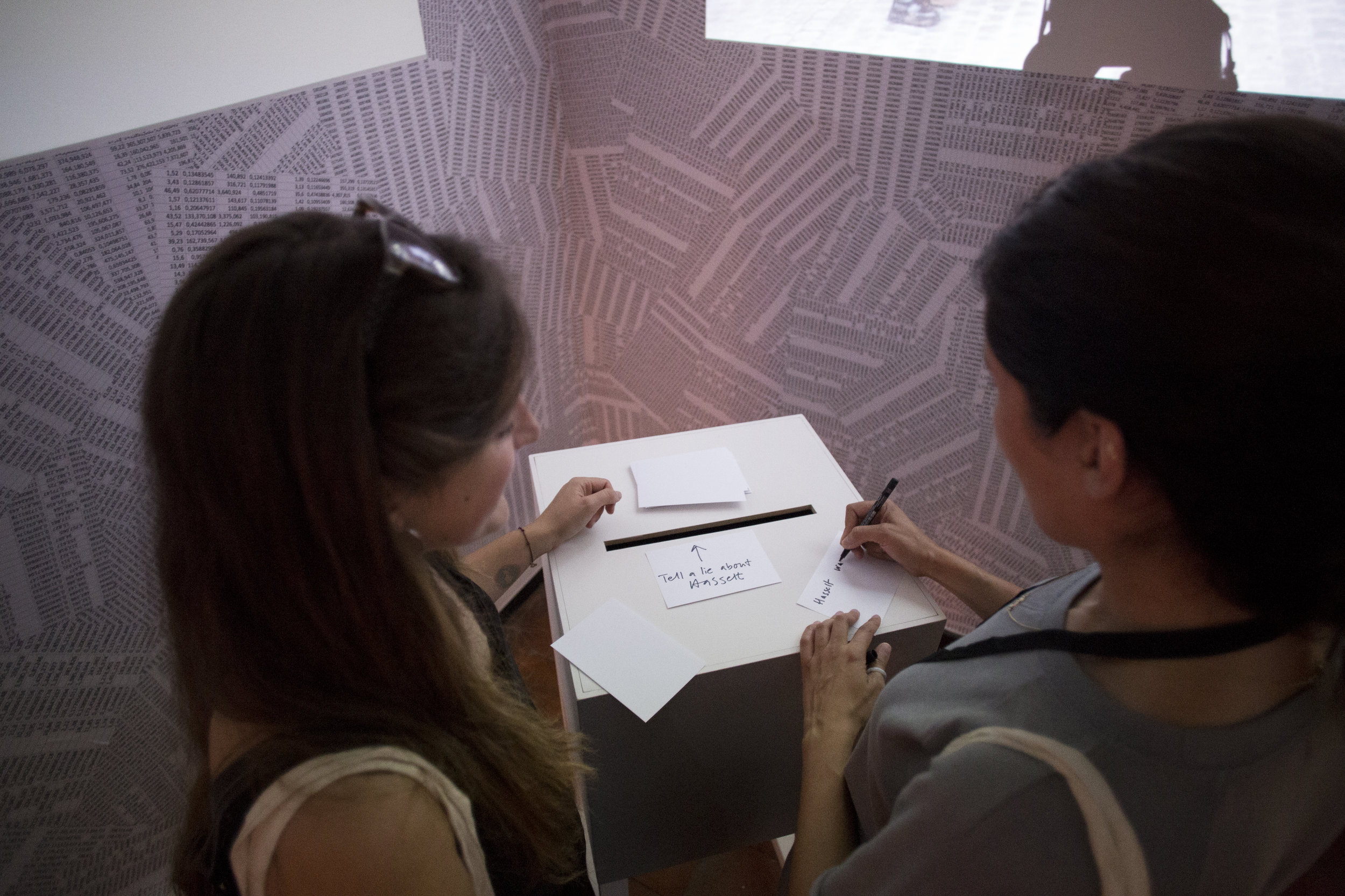 Documentation from the opening night of Politics of Design: Act 1. Visitors submitting more lies in the ballot box.