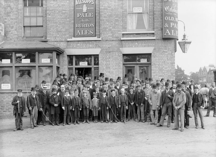 Beating of the Bounds, taken outside The Ranelagh in 1893 - photo hanging inside the pub.jpg