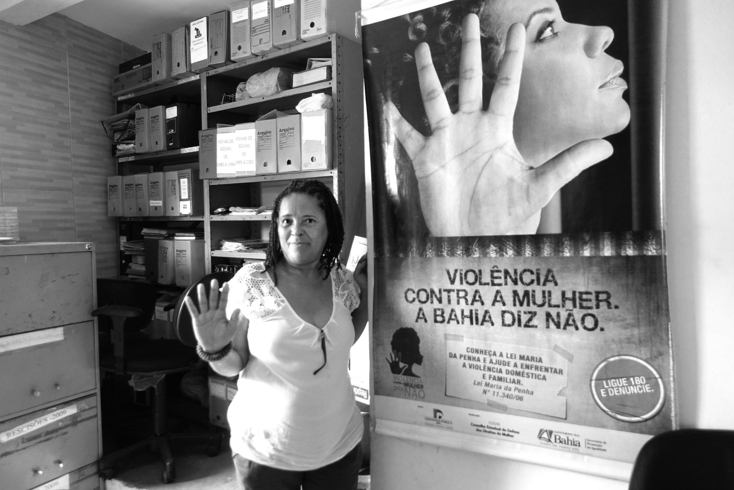 Milca Martins, membre de Sindoméstico (Brésil), lutte pour l'égalité des droits et contre la violence envers les femmes. Photo : Y. Zimmermann