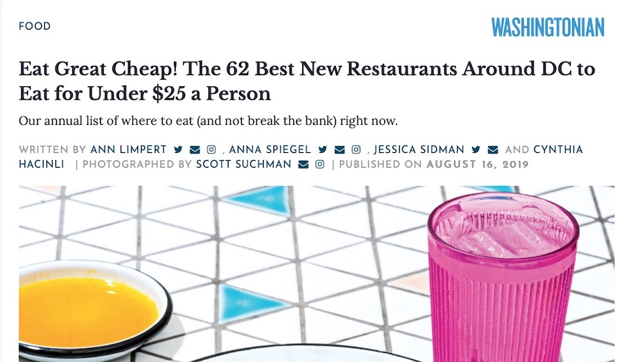 Washingtonian - Given the steak-like quality of its star attraction—slabs of salt-and-pepper-rubbed Angus brisket smoked for 15 hours—the liquor list makes sense.