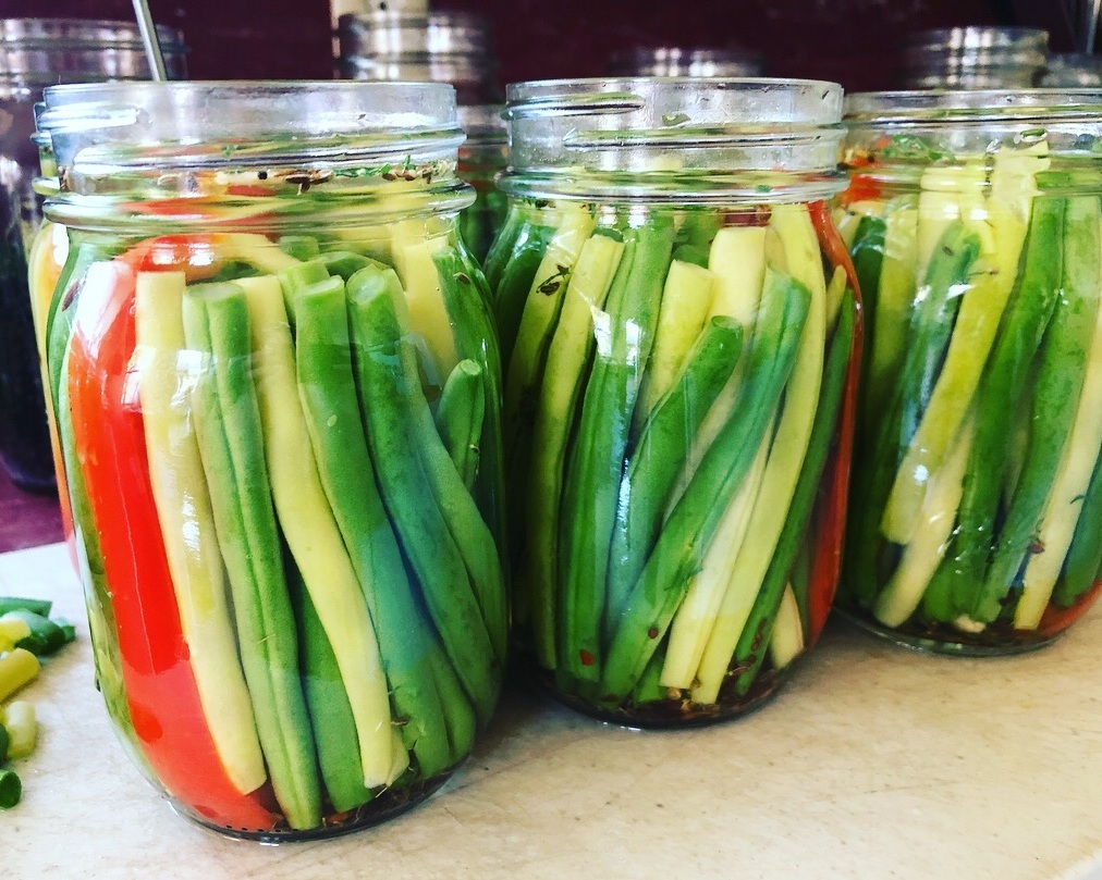 Dilly Beans - Crunchy green & yellow wax beans with robust dill flavor. Perfect for a quick snack, appetizer platter, or salad. $10/pint. SOLD OUT.