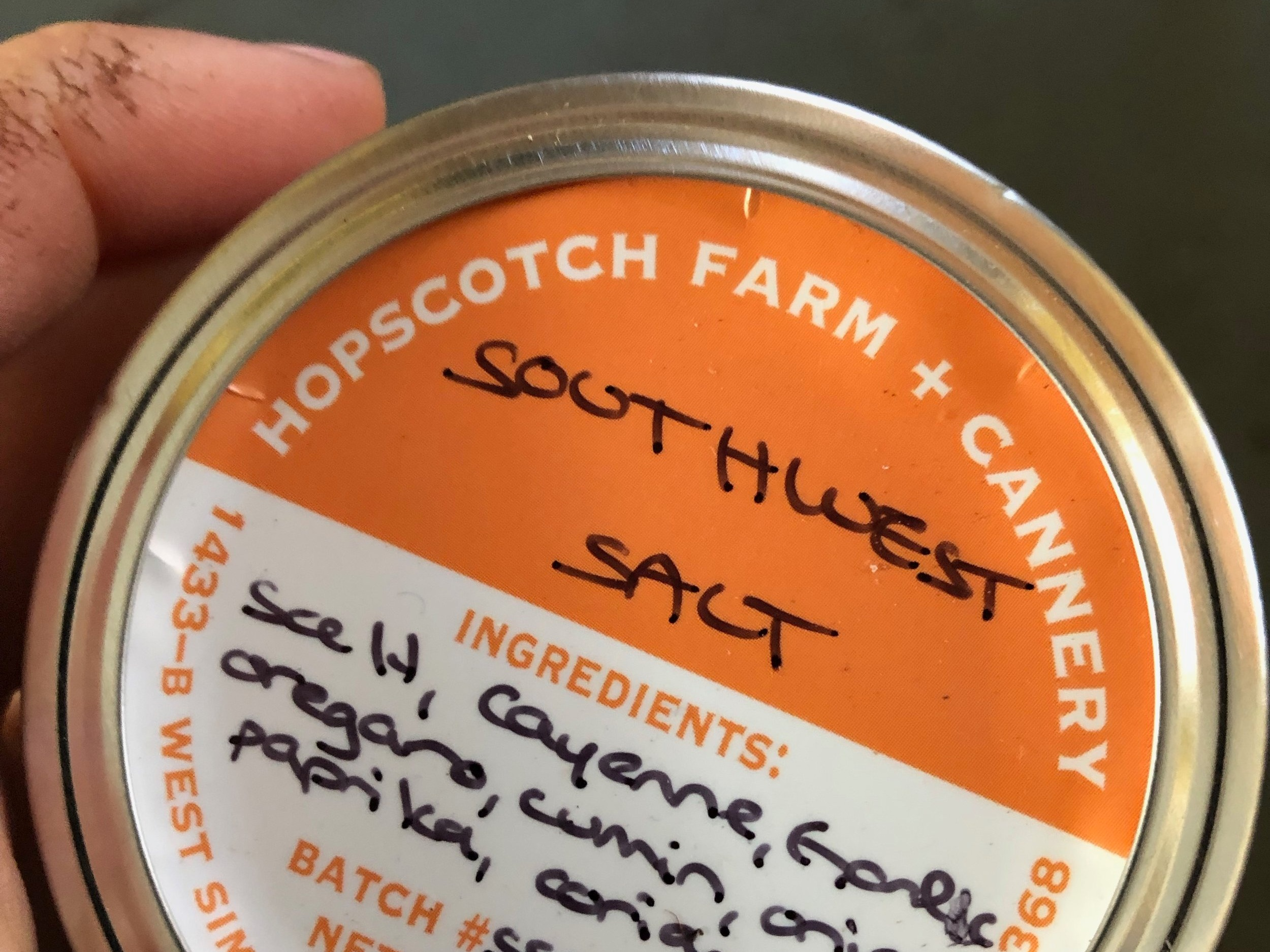 Southwest Salt - Spicy cayenne and vibrant cumin complimented by oregano, garlic, onion, and coriander in a sea salt base. Perfect for tacos!  $6/jar.