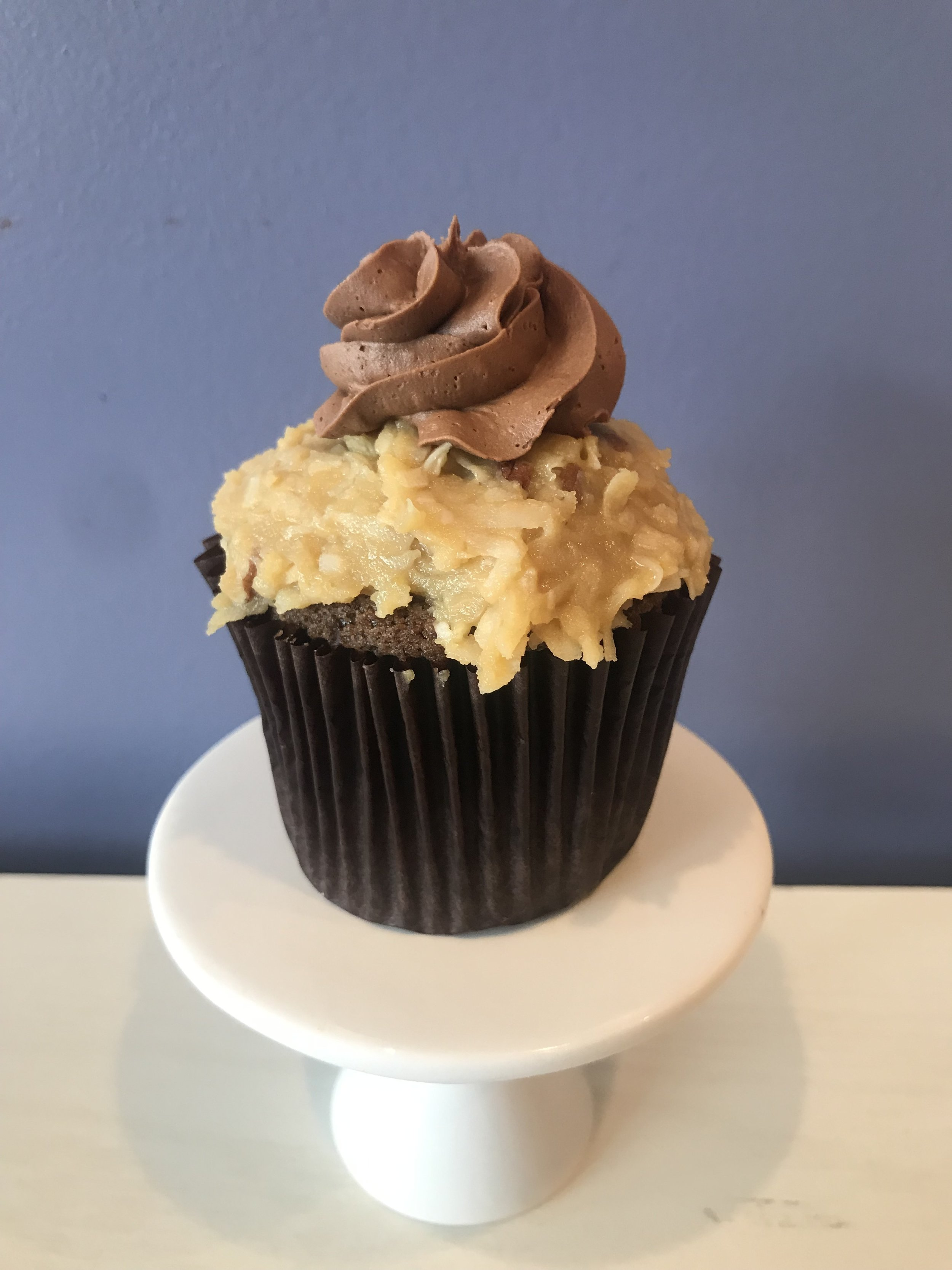 German Chocolate - Chocolate cake with coconut pecan frosting and chocolate buttercream.