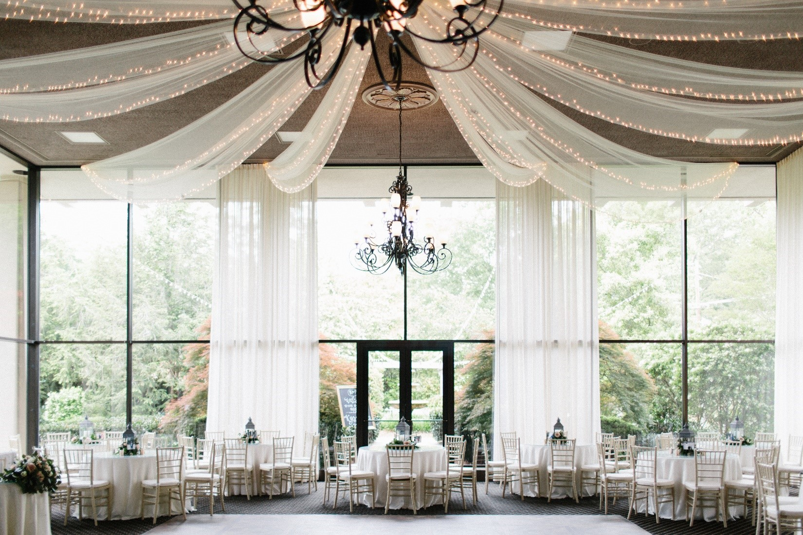 Neoclassical Design - Two-story glass ballroomBalcony overlooking the ballroomTwo courtyards