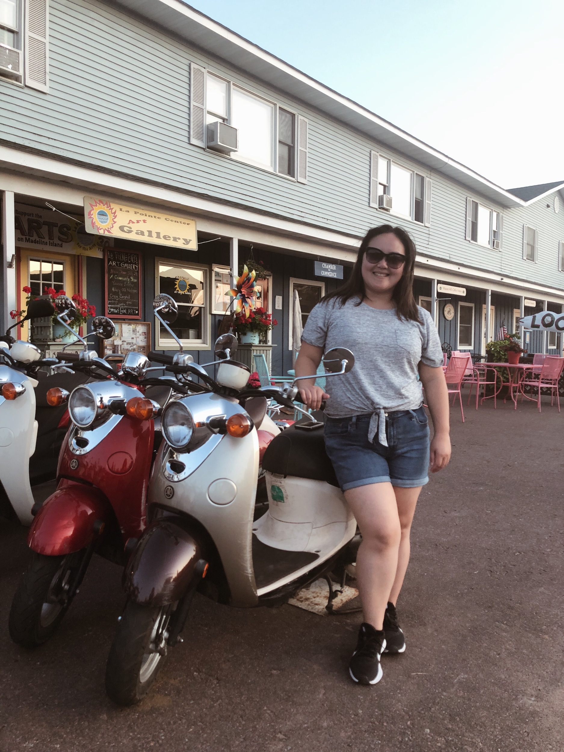 Emily lookin hot on a moped we didn't rent