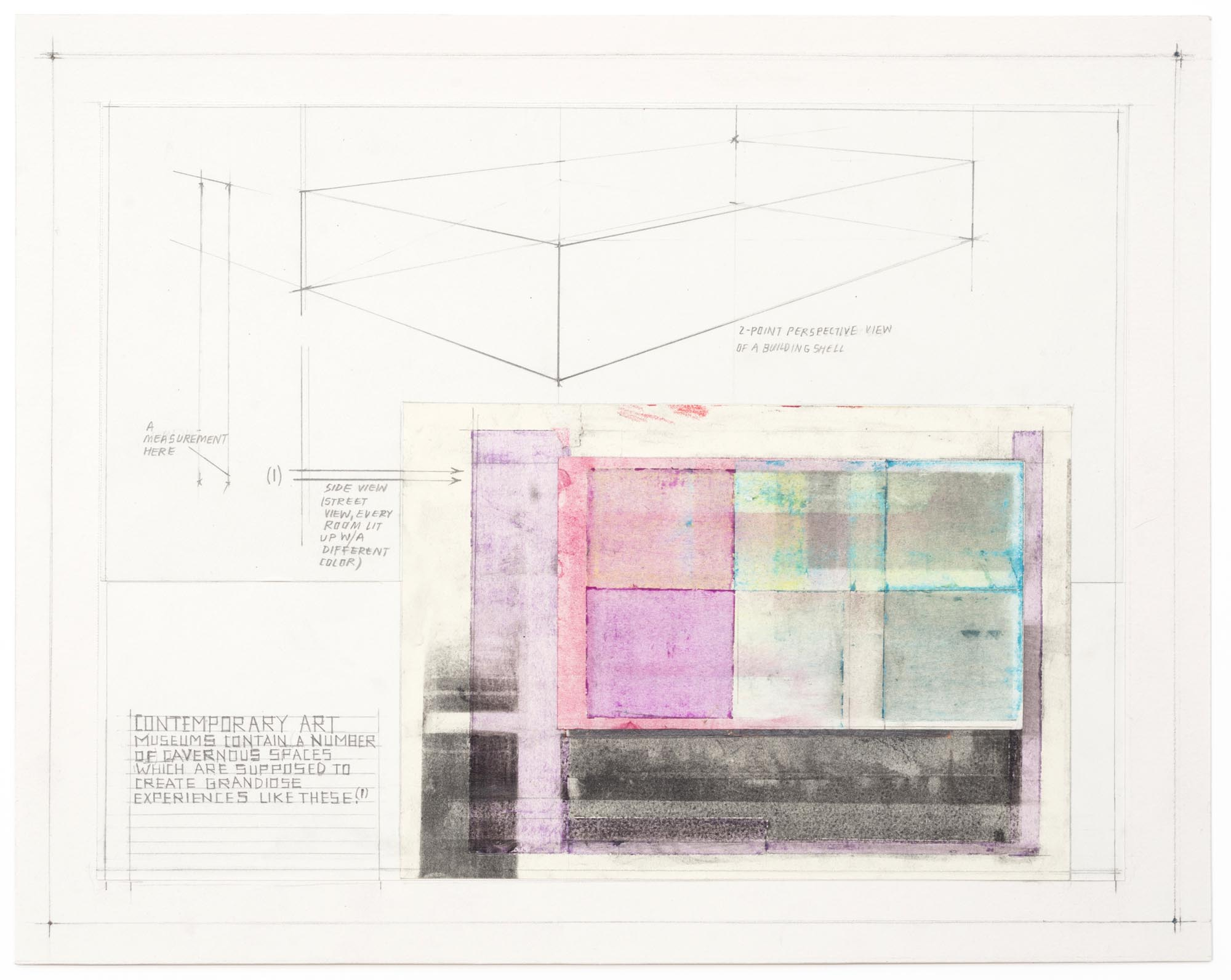 Deb Sokolow, Contemporary Art Museums Contain a Number of Cavernous Spaces, 2019. 11x14 inches. Graphite, colored pencil, pastel, crayon, and collage on paper.