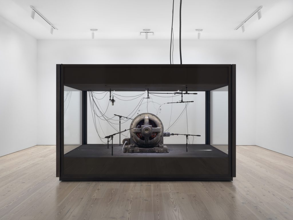 Kevin Beasley,  A view of a landscape: A cotton gin motor,  (2012–2018). Courtesy Casey Kaplan, NY. Photo: Ron Amstutz. Image from  ArtNet .