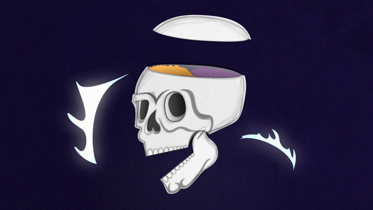 ashes skull synesthesia fx motion design stillframe 2D hand-drawn animation