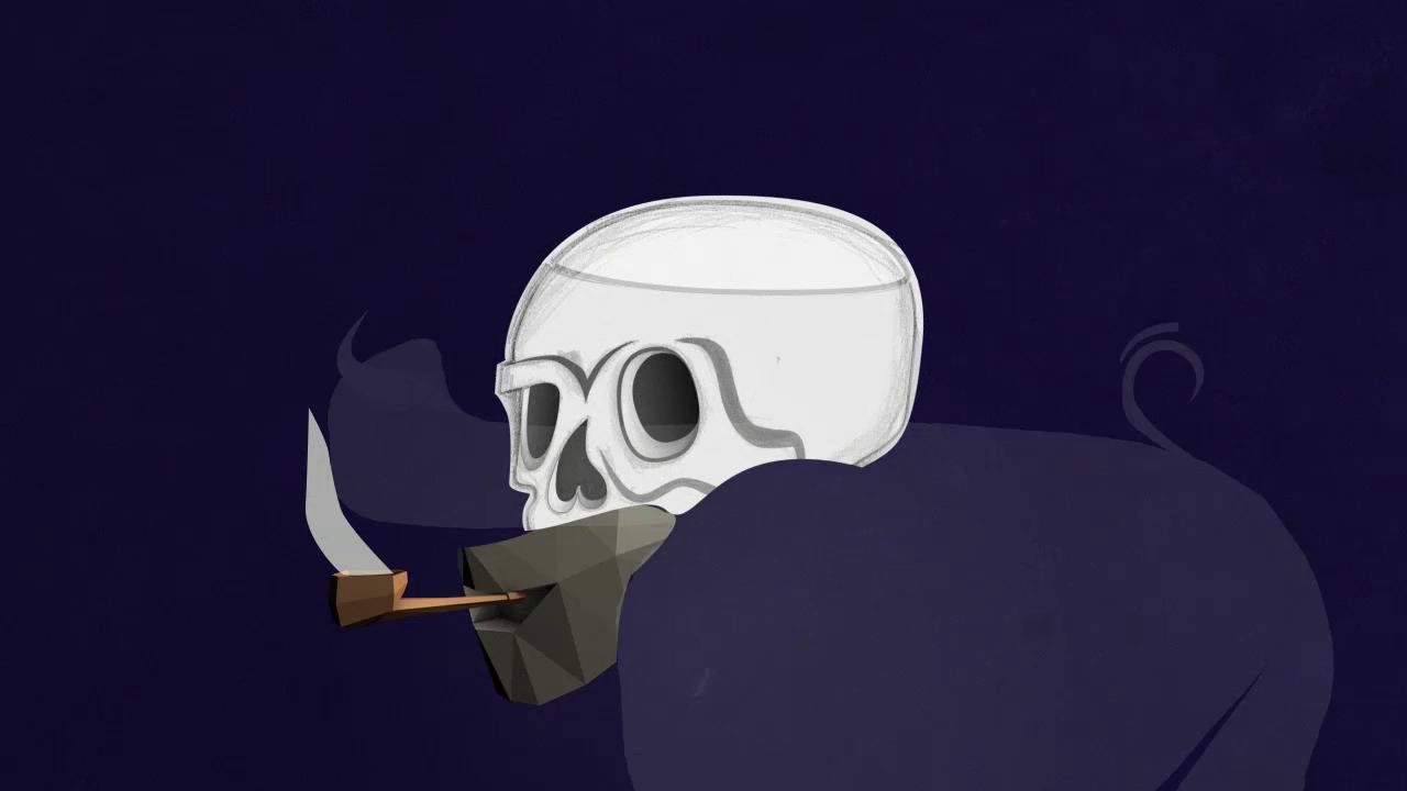 ashes smoke transition 2D hand-drawn skull fx motion design stillframe