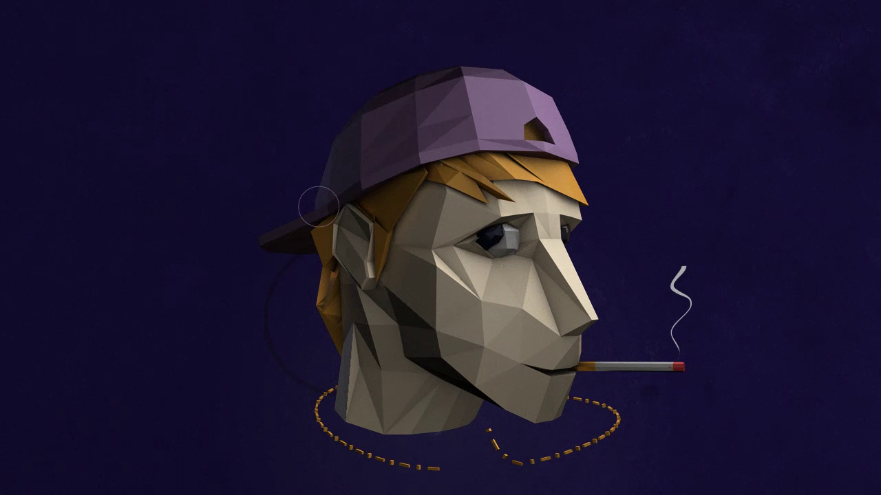 ashes lowpoly head 3D fx motion design stillframe character modelling