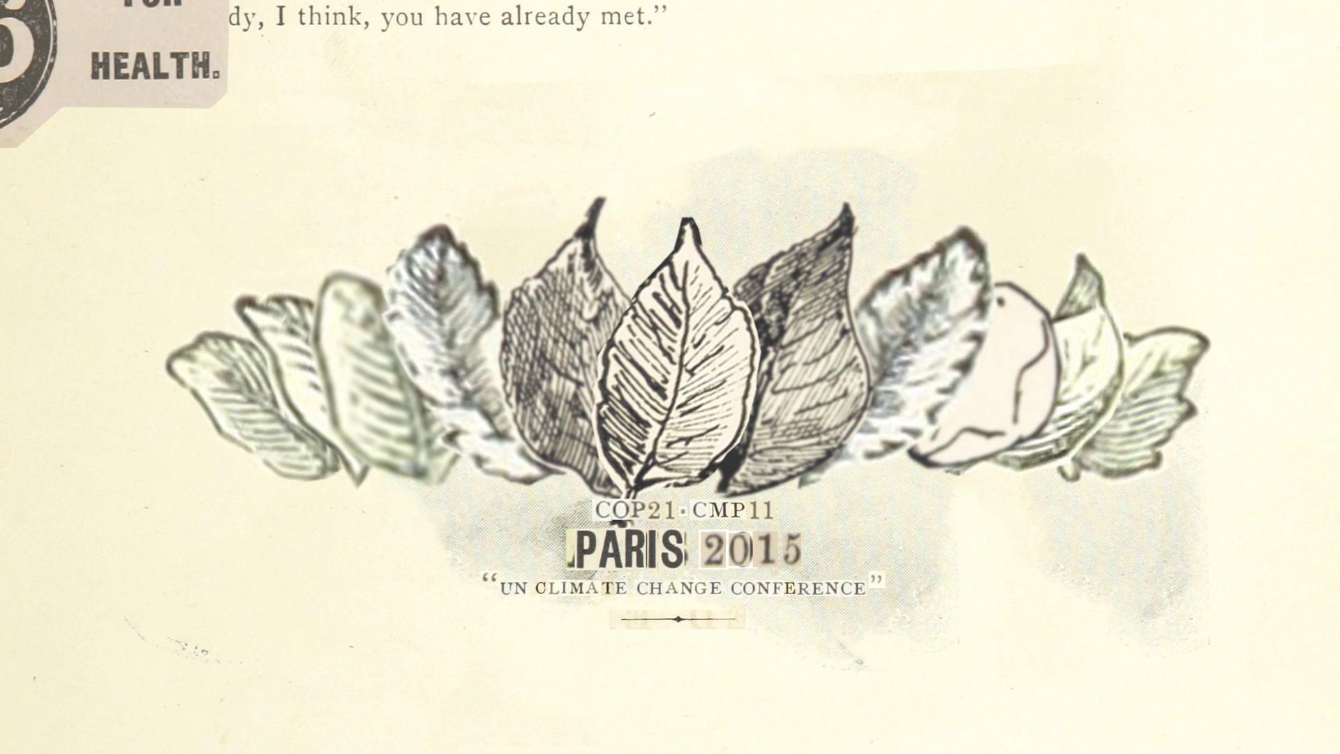 cop21 paris climate change conference title introduction illustration paper collage motion design