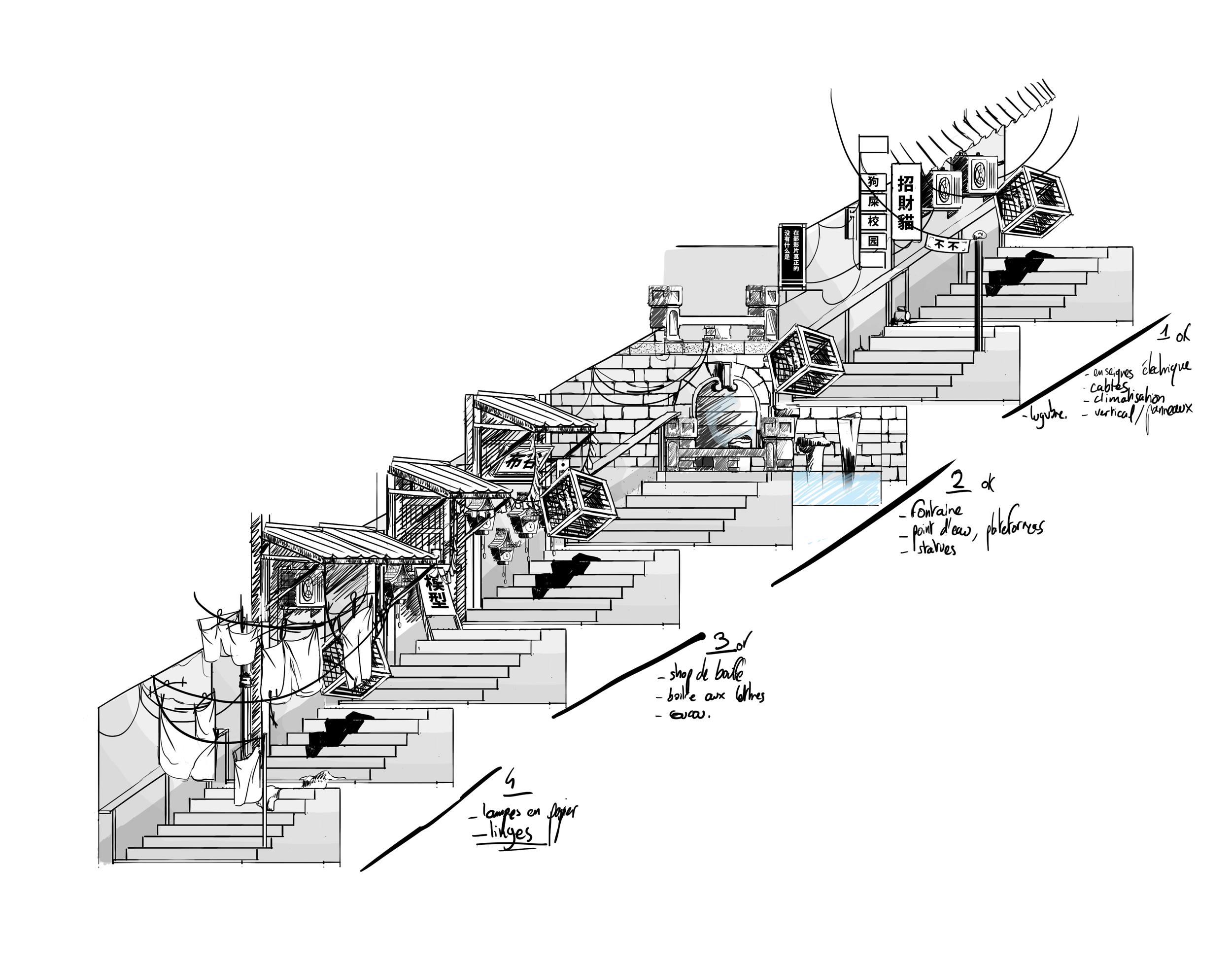 katharsis story loop stairs setup modular animation sketch