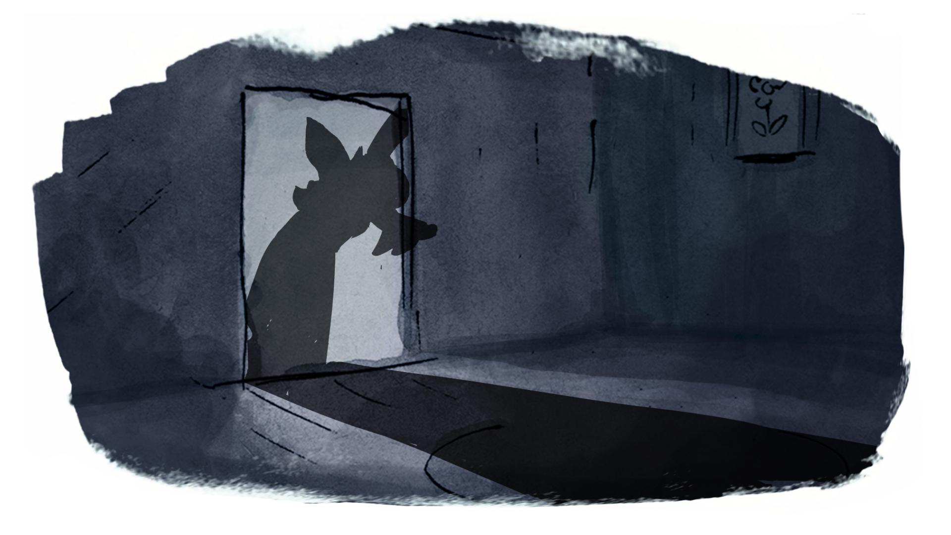 the big bad fox illustration watercolour book trailer 2D motion design dark character