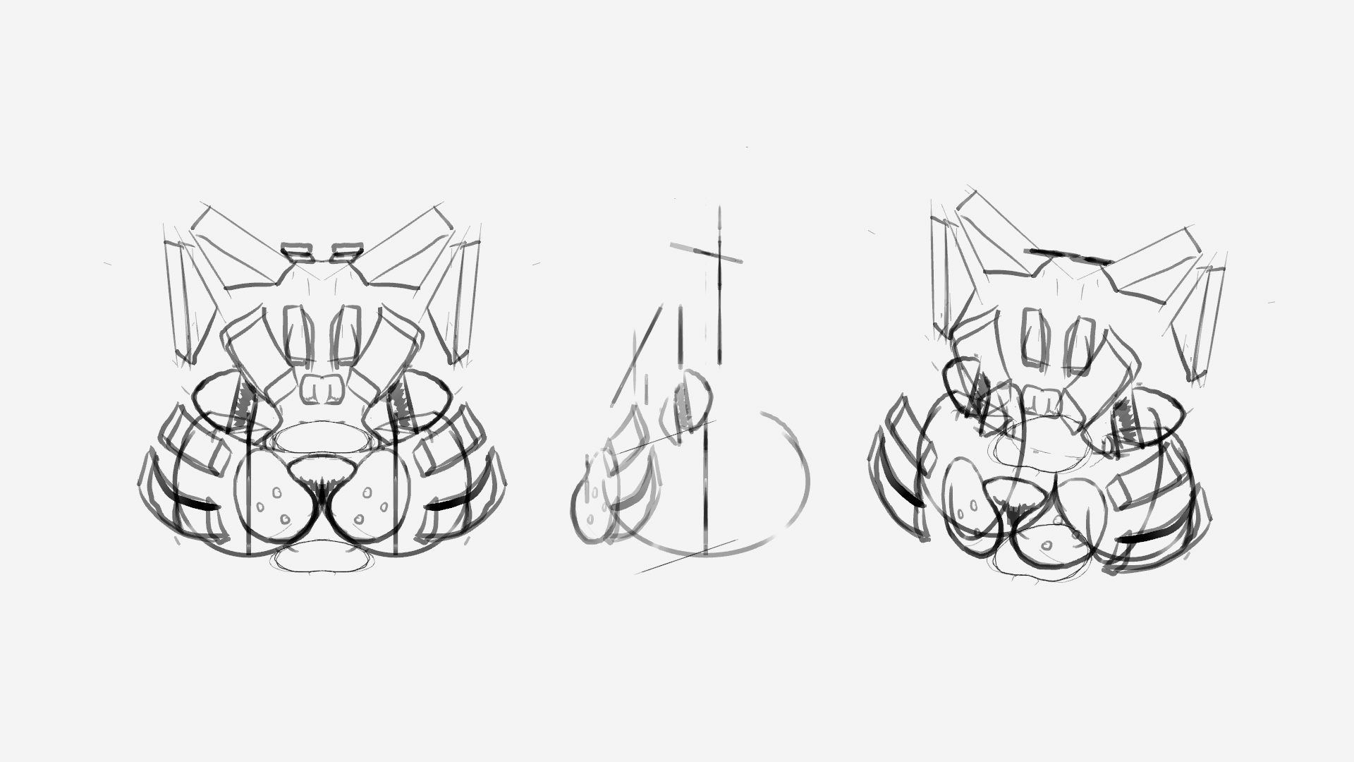 sketches grease pencil 3D maneki neko  hand-drawn illustration